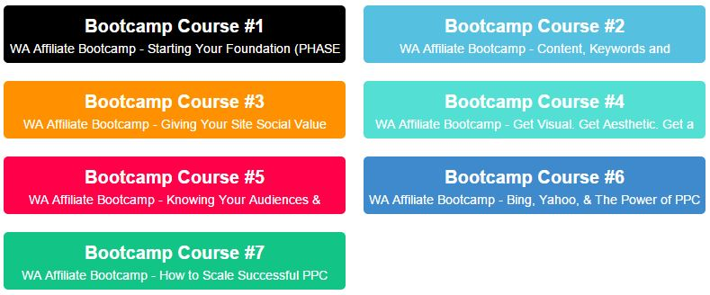 wealthy affiliate's bootcamp training courses