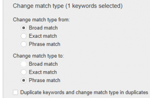 change match types for ppc