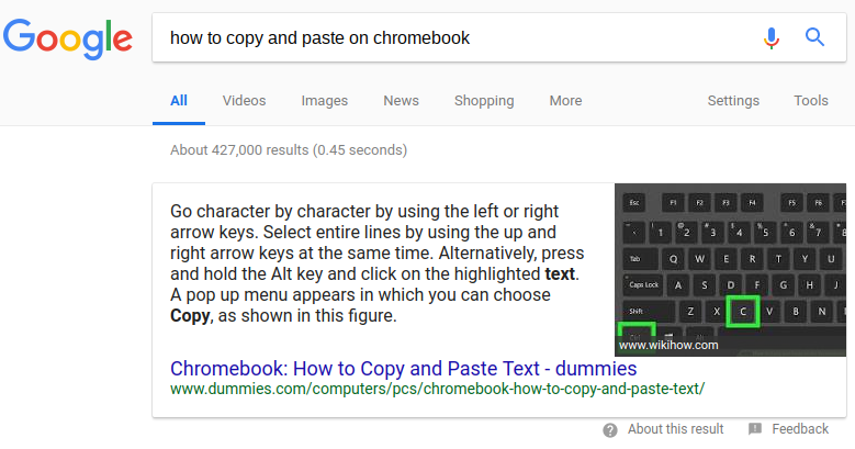 google result for copy and paste